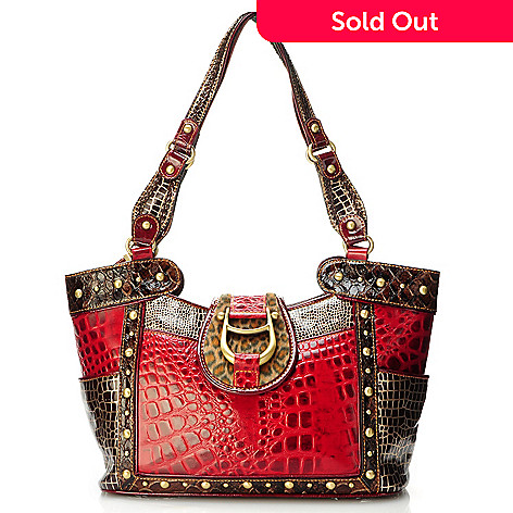 704-160 - Madi Claire ''Cheyenne'' Hardware Detail Multi Media Croco Embossed Leather Satchel Handbag