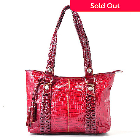 704-161 - Madi Claire ''Yani'' Whipstitch Detail Croco Embossed Leather Tote Bag