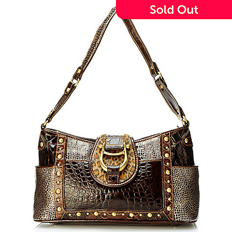 704-163 - Madi Claire ''Cheyenne'' Hardware Detail Multi Media Croco Embossed Leather Shoulder Handbag