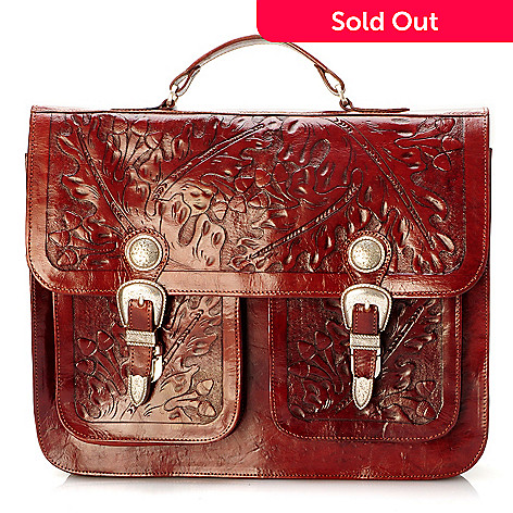 704-203 - American West Hand-Tooled Leather Briefcase