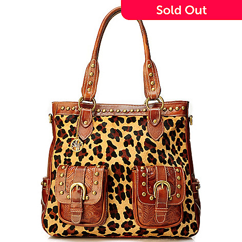 704-217 -  American West Leopard Print Calf Hair & Hand Tooled Leather Cross Body Handbag / North-South Tote