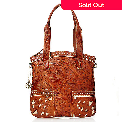 704-224 - American West Hand Tooled Leather Convertible Top Zip Tote Bag
