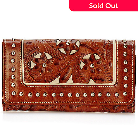 704-225 - American West Hand Tooled Leather Studded Bi-Fold Wallet
