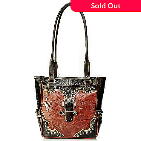 704-242 - American West Stud Detail Hand-Tooled Leather Zip Top Tote Bag