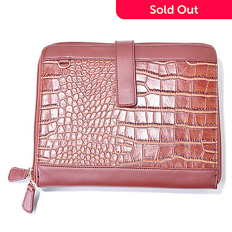 704-246 - Carianni Croco Embossed Leather iPad Case Organizer Clutch