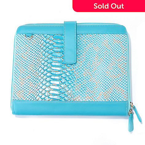 704-247 - Carianni Reptile Embossed Leather iPad Case Organizer Clutch