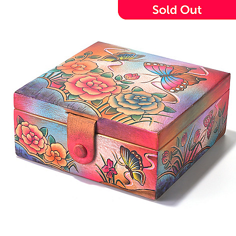 704-250 - Anuschka Hand-Painted Leather Watch & Jewelry Box