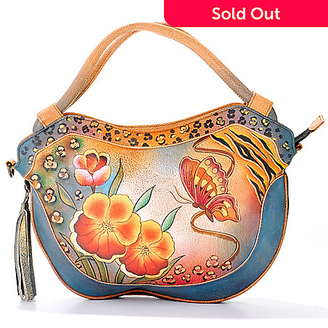 704-255 - Anuschka Hand-Painted Leather Convertible Hobo Bag