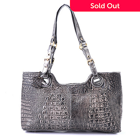 704-305 - Madi Claire ''Rebecca'' Matte Croco Embossed Leather Satchel