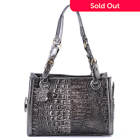 704-306 - Madi Claire ''Rebecca'' Exterior Pockets Matte Croco Embossed Leather East-West Satchel Handbag