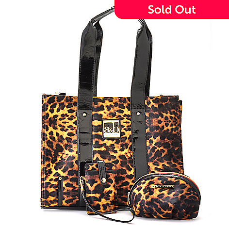 704-371 - Amelia & Blake Animal Print Cosmetic Case, Phone Case & Tote Bag Travel Set