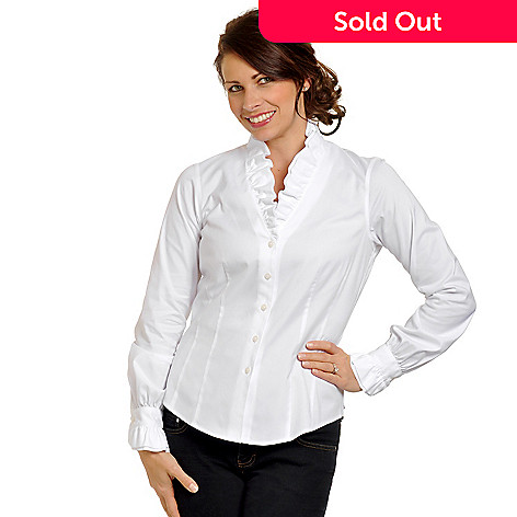 704-373 - Brooks Brothers® Women's Ruffle Detail V-Neck Long Sleeve Non-Iron Cotton Shirt