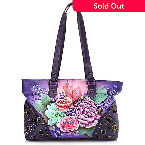 704-384 - Anuschka Hand-Painted Leather Double Entry Tote Bag