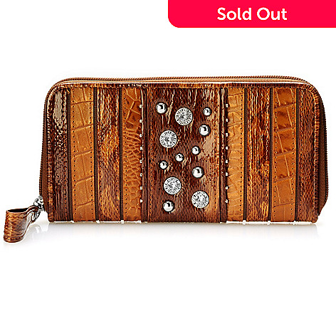 704-399 - Madi Claire Rhinestone & Stud Detail Croco Embossed Leather Wallet