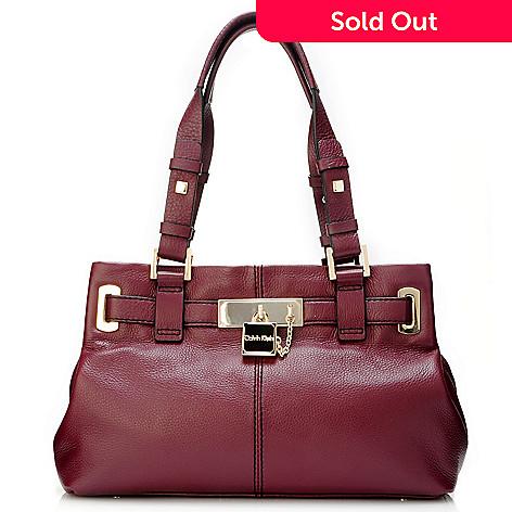 704-403 - Calvin Klein Handbags Leather Belted Satchel