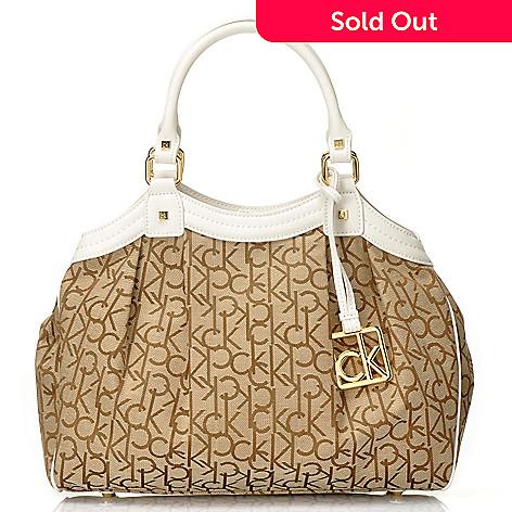 704-412 - Calvin Klein Handbags Logo Jacquard Convertible Satchel