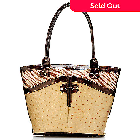 704-418 - Madi Claire ''Haley'' Zebra Print & Ostrich Embossed Leather Tote Bag