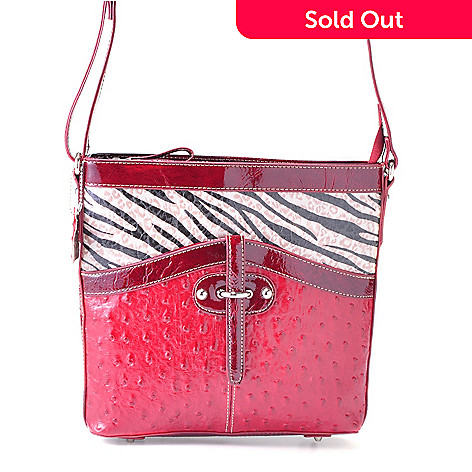 704-420 - Madi Claire Ostrich Embossed Leather ''Haley'' Cross Body Bag