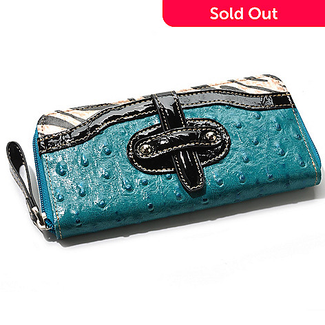 704-421 - Madi Claire ''Haley'' Zebra Print Trim Ostrich Embossed Leather Wallet