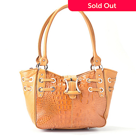 704-422 - Madi Claire Buckle & Grommet Detail Croco Embossed Leather Tote Bag