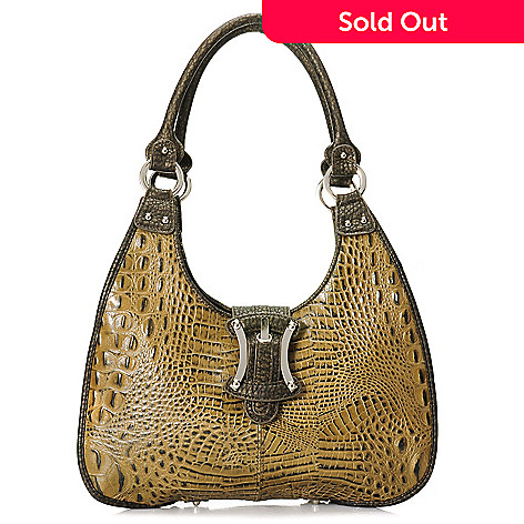 704-423 - Madi Claire Croco Embossed Leather Buckle Detailed Hobo Handbag