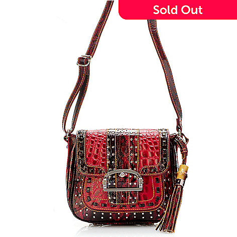 704-427 - Madi Claire ''Keira'' Croco Embossed Leather Cross Body Camera Bag