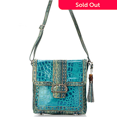 704-428 - Madi Claire ''Keira'' Croco Embossed Leather Messenger Bag