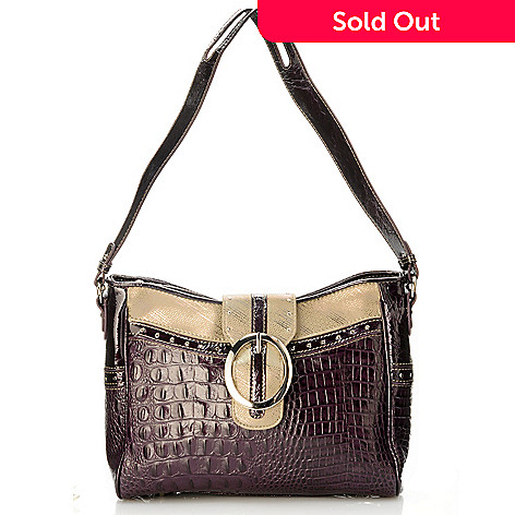 704-432 - Madi Claire ''Zoey'' Croco Embossed Leather Shoulder Bag