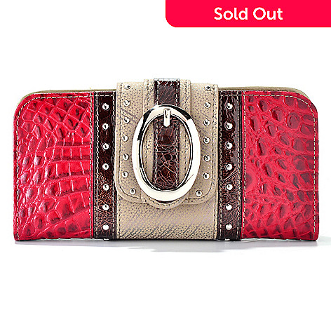 704-434 - Madi Claire ''Zoey'' Buckle Detail Croco Embossed Leather Wallet