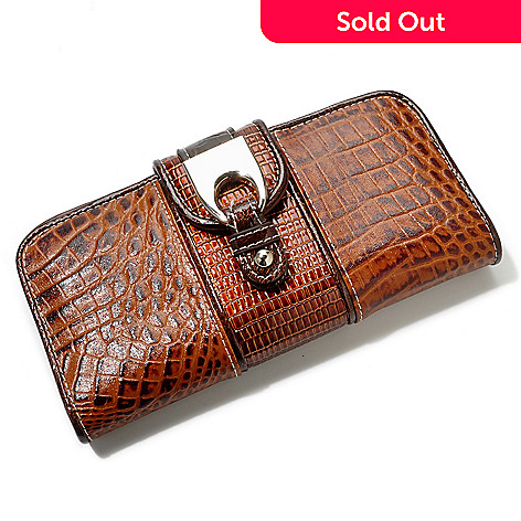 704-438 - Madi Claire ''Stella'' Croco Embossed Leather Flap Wallet