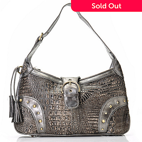 704-440 - Madi Claire ''Donia'' Matte Croco Embossed Leather Shoulder Bag