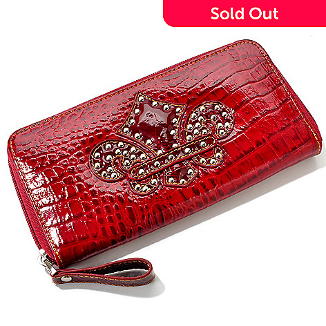 704-444 - Madi Claire Croco Embossed Patent Leather Zip Around Wallet