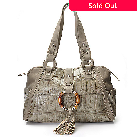 704-446 - Madi Claire ''Ruby'' Jumbo Croco Embossed Leather Satchel Handbag