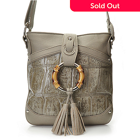 704-447 - Madi Claire Croco Embossed Leather ''Ruby'' Cross Body Bag