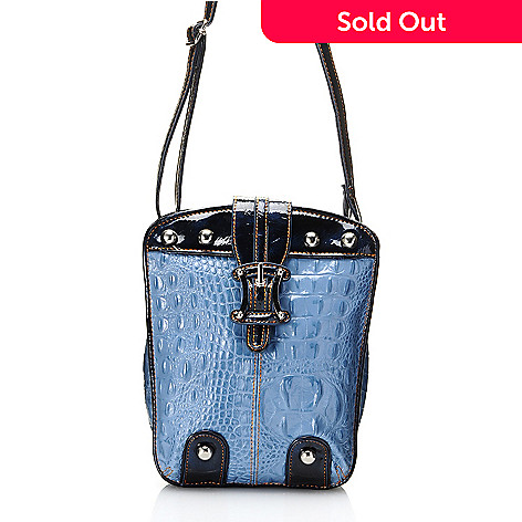 704-449 - Madi Claire ''Chelsea'' Croco Embossed Leather Buckle Detailed Organizer Cross Body Bag