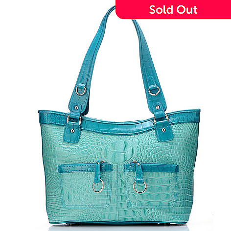 704-451 - Madi Claire Croco Embossed Leather ''Bailey'' Tote Bag
