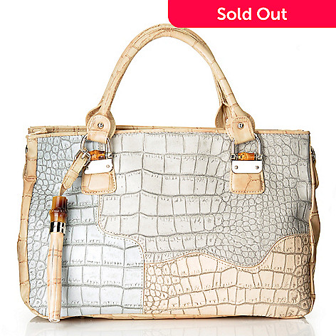 704-453 - Madi Claire ''Heather'' Croco Embossed Leather Tote Bag
