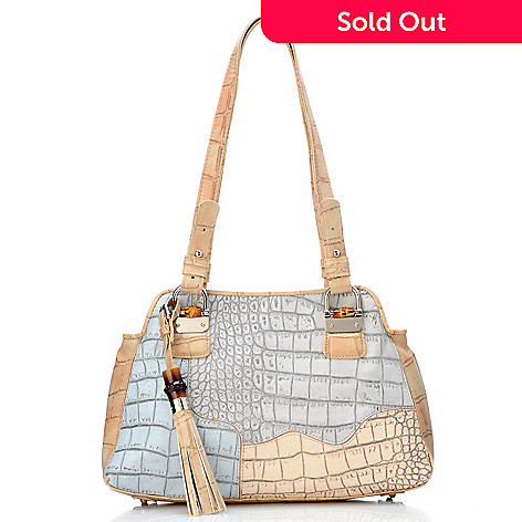 704-454 - Madi Claire ''Heather'' Croco Embossed Leather Shoulder Bag