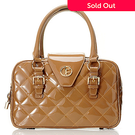 704-475 - Jack French London Patent Leather ''Burlington'' Quilt Stitched East-West Satchel