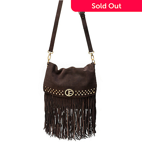 704-478 - Jack French London ''Carnaby'' Fringed & Studded Suede Leather Messenger Bag