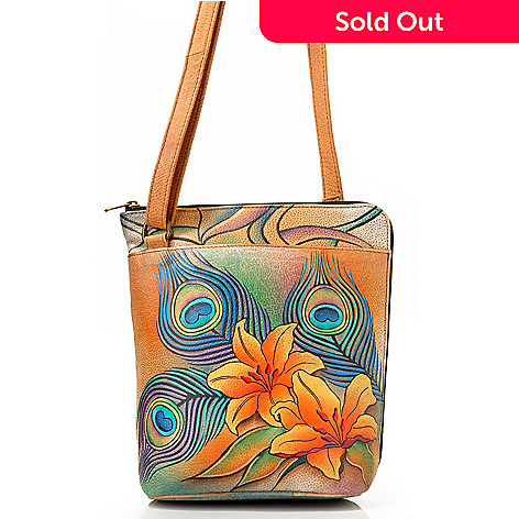 704-497 - Anuschka Two-Sided Zipper Hand Painted Leather Organizer Bag