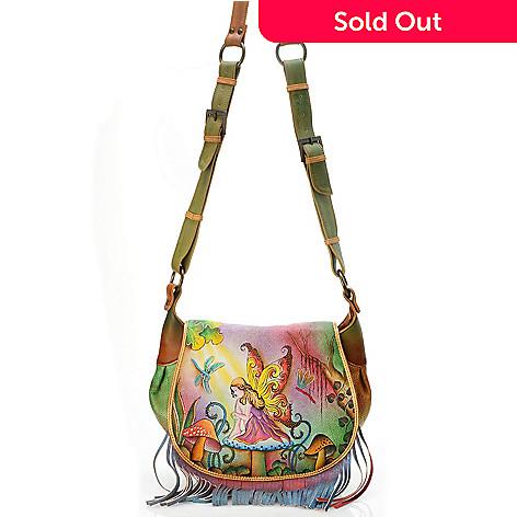 704-499 - Anuschka Hand Painted Leather Fringed Flap Saddle Bag