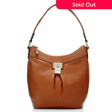 704-505 - Calvin Klein Handbags Leather Pleated Hobo