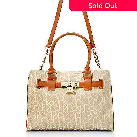 704-509 - Calvin Klein Handbags Logo Jacquard Convertible Carry All