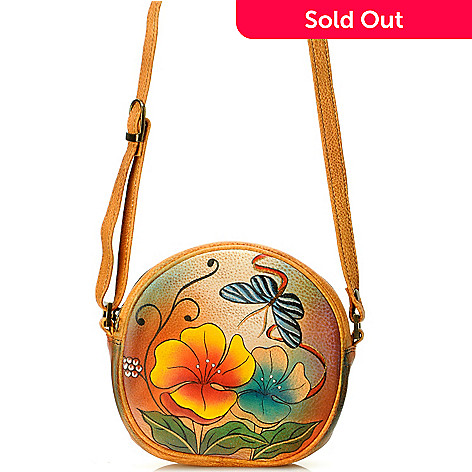 704-546 - Anuschka Hand Painted Leather Mini Cross Body Handbag