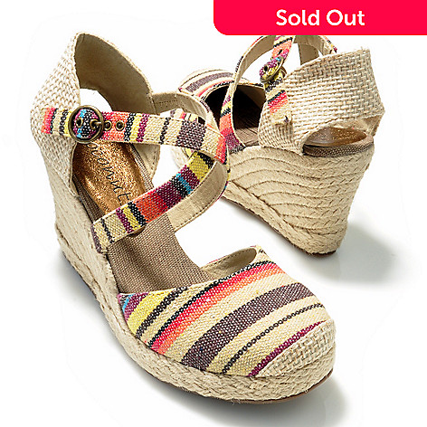 704-548 - Coconuts by Matisse® ''Hepburn'' Striped Espadrille Wedge Shoes