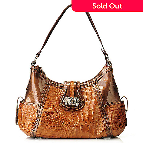 704-554 - Madi Claire Croco Embossed Leather ''Luckie'' Hobo Handbag