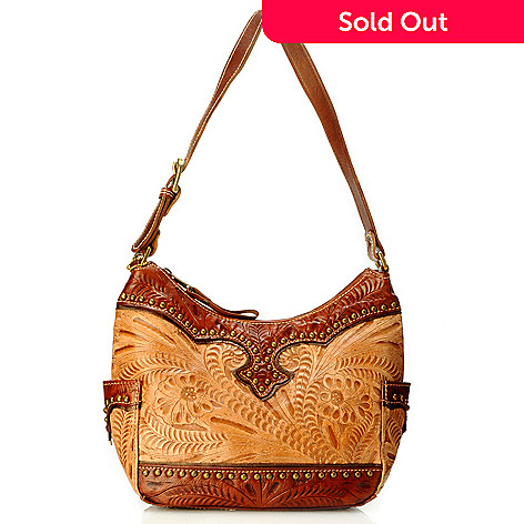 704-616 - American West Leather Stud Detailed Everyday Hobo Handbag