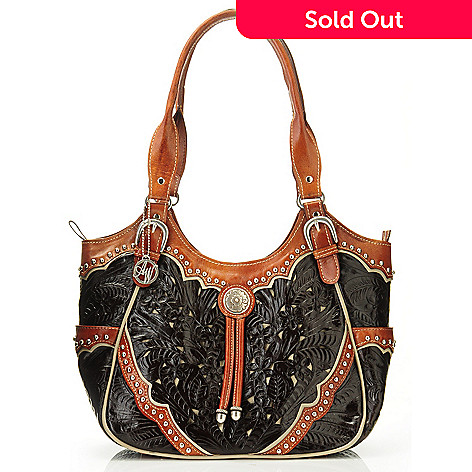 704-620 - American West Hand-Tooled Leather Scoop Top Tote Bag