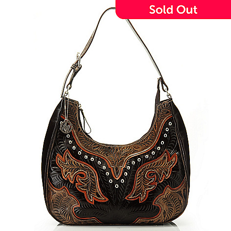 704-623 - American West Hand-Tooled Leather Scoop Top Hobo Handbag